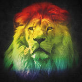 Colorful, artistic portrait of a lion — Stock Photo
