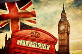 Red phone booth, Big Ben, the Union Jack flag — Stock Photo
