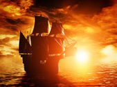 Ancient pirate ship sailing — Stock Photo