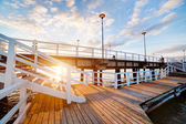Retro pier at sunset. Gdansk Brzezno — Stock Photo