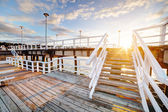 Beautiful retro pier at sunset. — 图库照片