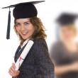 Young woman holding graduate diploma — Stock Photo #3072580