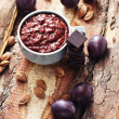 Plum jam with chocolate — Stock Photo