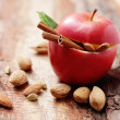 Apple with almond ready to bake — Stock Photo