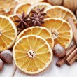 Dry oranges with walnut and cinnamon — Stok fotoğraf