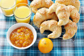 Croissants with jam — Stock Photo