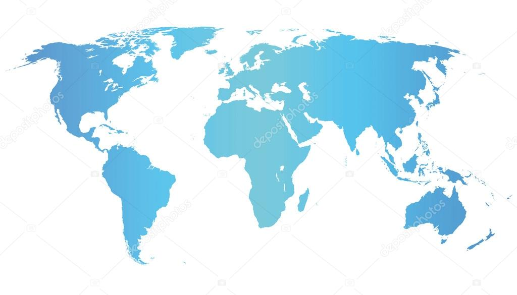 Blue vector world map illustration isolated on white — Stock Vector #12823330