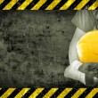 Worker and grunge texture in background — Stock Photo