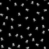 Background with white skulls on back background, seamless — Photo