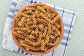 Wholemeal fusilli italian pasta — Stock Photo