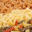 Three types of fusilli pasta - Stock Photo