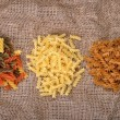Three types of pasta — Stock Photo