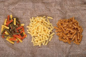 Three types of pasta — Stock Photo