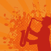Musical background with saxophonist — Stock Vector