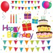 Collection of vector birthday party elements — Stock Vector