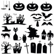 Vector halloween silhouettes — Stock Vector