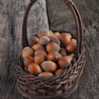Hazelnuts on a wooden table. — Stock Photo