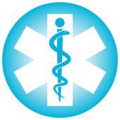 Símbolo médico caduceo serpiente con palo — Vector de stock
