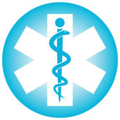 Medical symbol caduceus snake with stick — Stock Vector