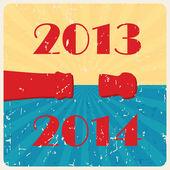 Vector retro happy new year card — Stock Vector