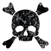 Grunge skull isolated on white — Stock Vector