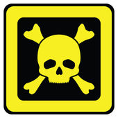 Yellow danger sign with skull — Stock Vector
