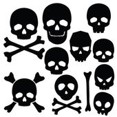Collection of skulls isolated on white — Stock Vector