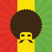 Man with afro and flag of Ethiopia in background — Stock Vector
