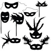 Collection of silhouettes carnival masks — Stock Vector