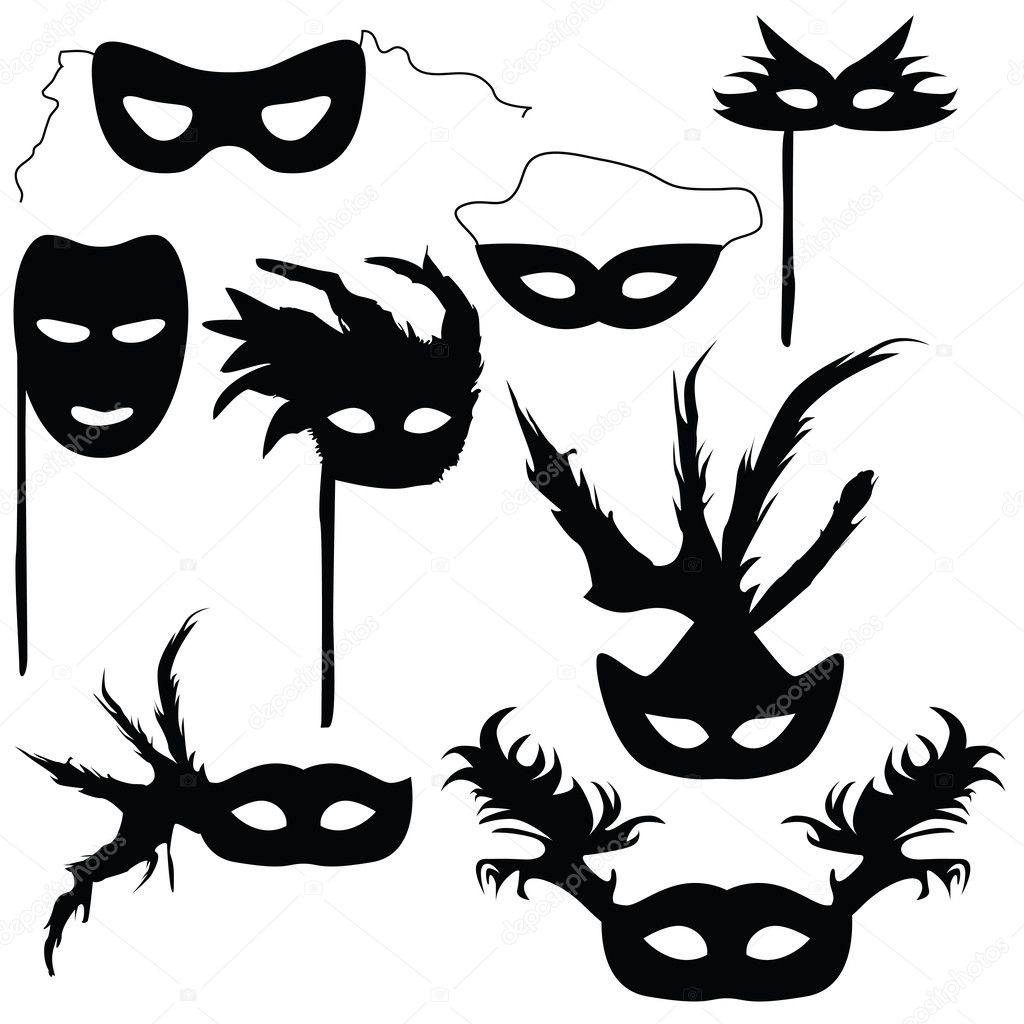 Carnival Silhouette Vector Silhouettes Carnival Masks