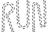"Trail of human steps writing ""Run"" (vector) — Stock Vector"