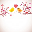Valentine's day background. Birds on branches (vector) — Stock Vector