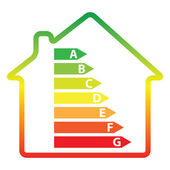 Energy efficiency rating and house (vector) — Stock Vector
