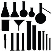 Set of laboratory silhouettes, vector — Stock Vector