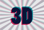 3D symbol with chromatic aberration, vector — Vettoriale Stock