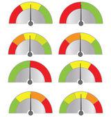 Colección de velocímetros botón aislado sobre fondo blanco (vector) — Vector de stock