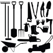 Silhouettes of gardening tools, vector — Stock Vector