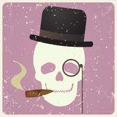 Crânio de cavalheiro vintage, vetor — Vetor de Stock