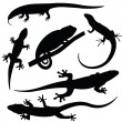 Set of lizards silhouettes, vector — Stock Vector