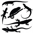 Set of lizards silhouettes, vector — Stock Vector #41490671