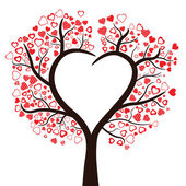 Tree with hearts isolated, vector  — Stock Vector