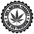 Постер, плакат: Stamp with marijuana leaf emblem Cannabis leaf silhouette symbo