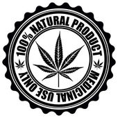 Stamp with marijuana leaf emblem. Cannabis leaf silhouette symbo — Stock Vector