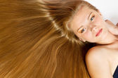 Portrait of Beautiful Woman with smooth gloss long hair. — Stock Photo