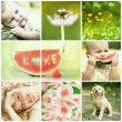Beautiful baby and nature collage — Stock Photo