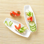 Canapes on plate. Still life. Top view — Stock Photo