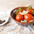 Homemade tomatoes preserves. Canned tomatoes. — Stock Photo