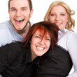 Stock Photo: Happy three friends