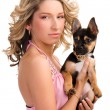 Young woman with a small dog - Photo