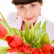 Girl with bouquet of tulips — Stock Photo #19269839